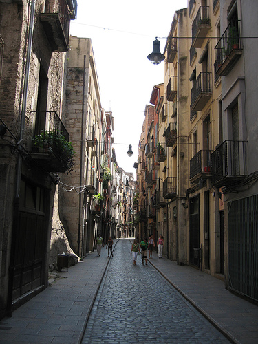 High density residential street in Girona, Spain photo by Rosemary Rees-Childs