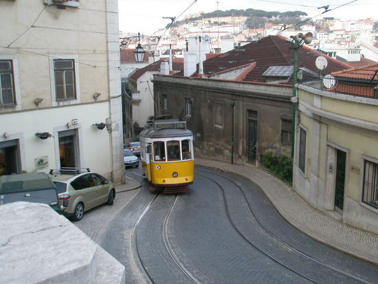 streetcar climbing a big hill - Lisbon, Portugal