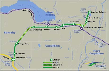 Evergreen Line Map Transportation minister expects fast track for Evergreen Line  Evergreen Line Map