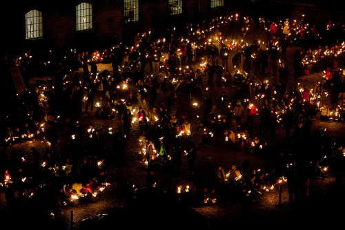 Candle lit vigil at Copenhagen