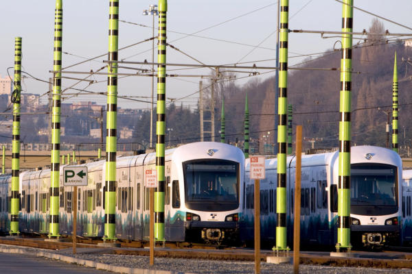 Light rail trains sit in a yard in Seattle, Washington, U.S., on Saturday, Jan. 17, 2009.