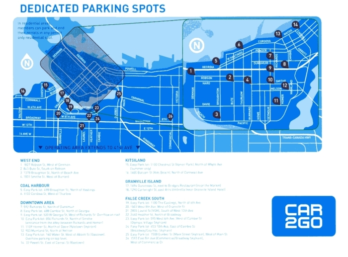 CAR2GO Dedicated Parking spots