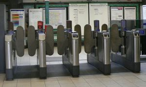 West Kensington tube station gateline - cropped