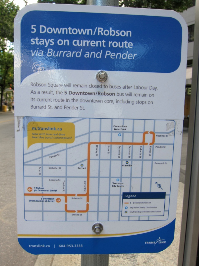5 Downtown/Robson stays on current route