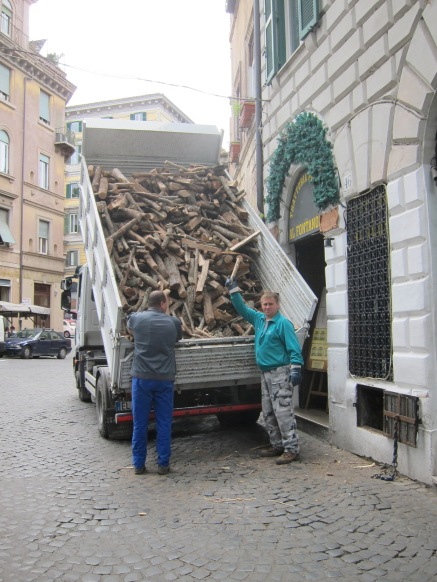 Delivering wood for the pizza oven