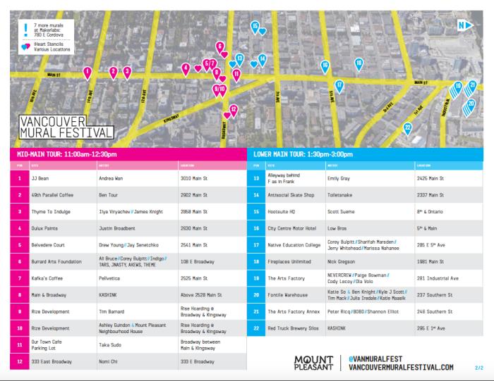 Vancouver Mural Festival Map